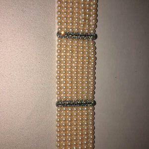 Multi Strand, Faux Pearl and Diamond Bracelet
